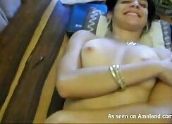 Bosomy Indian beauty shows off her yam-sized round tits