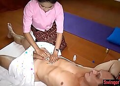 Asian masseuse gets anally fucked on massage table