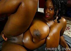 Beautiful busty black bbw oils up her amazing big tits