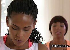 Black lesbian beauty taking fitness socks off