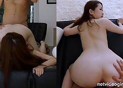 Auburn voracious Japanese bitch gets her twat licked