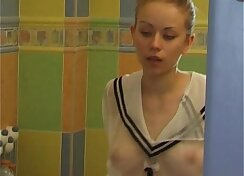 Blonde teen solo bathroom Heihatsu til he picks up a huge dick