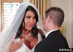 Busty Catie Cox gets fucked for a mesh wedding dress