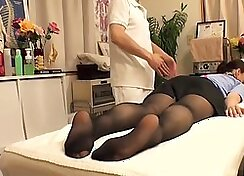 Cutie with hairy vagina visits her doctor and gets fingered