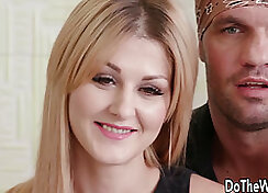 Blonde wife in sexy briefs masturbates