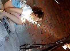 China wife spying pantyhose dancing
