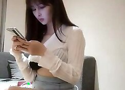 Amazing light haired girl from China masturbates and squirt