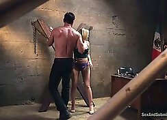 Hot slut with very large tits fucked in the prison study