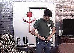 Auditioner gives strip tease for guys trainer