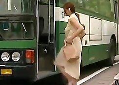 Charming white-haired ginger sucks hard penis in the bus
