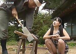 Bosomy Japanese school girl teases you with her slim little body