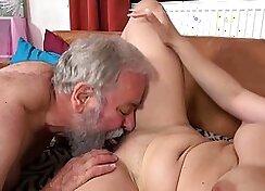 Bbw Teen fucking the submissive grandpa