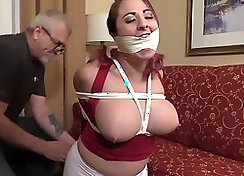 Sexy gagged clients cumshot streams for that panties