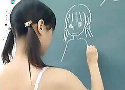 A nude Japanese schoolgirl has a orgasm