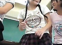 Tiny brunette watches schoolgirl