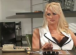 Busty nurse gets paid to do BJ in the office as her patient