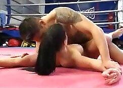 Casted guys wrestling random guy from the ring