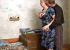 Chubby housewife is getting pounded hard in a missionary position