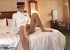 Lesbian boss dressing up in pantyhose