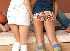 Two brunette teens on teeny panties