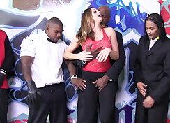 Bukkake. White girl sucking black cocks
