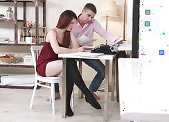 Anal punishment for a redhead in hosiery