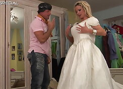 Tall mature gets fucked in her white dress
