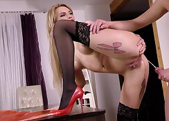 Cock thirsty blonde fucked and pees