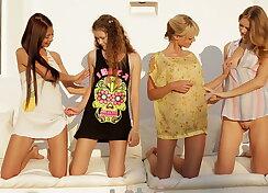 Four super cute teens having fun