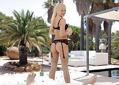 18 year old skinny blondie doing footjob