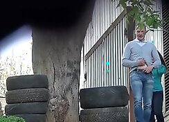 Candid voyeur strip-playing body and piss in jeans