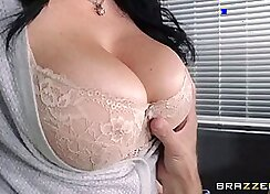 Busty secretary gets banged on office sofa