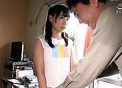 Young japanese schoolgirl sucking cock in front of his room