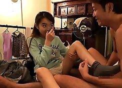 Asian School Girl Blows