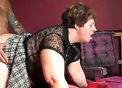 BBW gets fucked in kitchen and fucked at home