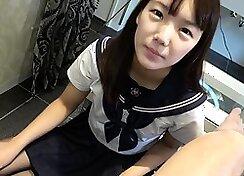 asian school uniform cum inside her cute puffy teen bum