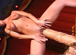 Sloppy blow job with toy penetration
