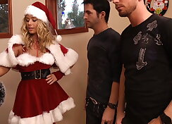 Pretty blonde Santa gets face fucked by two